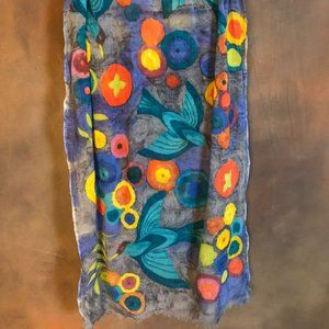 Multi-color gray floral, birds and buttons scarf